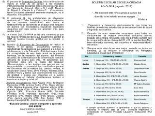 BOLETÍN ESCOLAR ESCUELA CROACIA Año 5- Nº 4 ( agosto  2012)