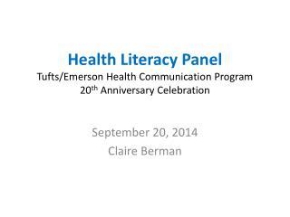 September 20, 2014 Claire Berman