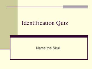 Identification Quiz