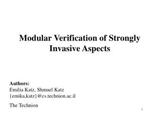 Modular Verification of Strongly Invasive Aspects