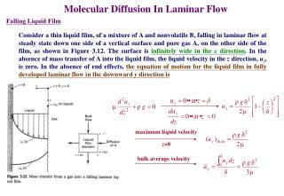 Molecular Diffusion In Laminar Flow