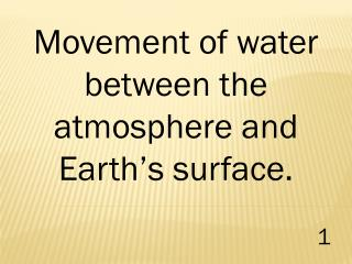 Movement of water between the atmosphere and Earth's surface.