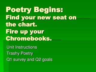 Poetry Begins:  Find your new seat on the chart. Fire up your Chromebooks.