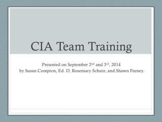 CIA Team Training