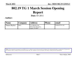 802.19 TG 1 March Session Opening Report