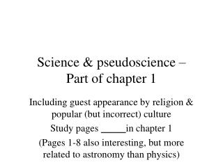 Science & pseudoscience � Part of chapter 1
