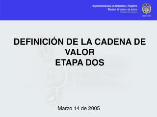 DEFINICIÓN DE LA CADENA DE VALOR ETAPA DOS
