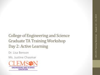 College of Engineering and Science Graduate TA Training Workshop Day 2: Active Learning