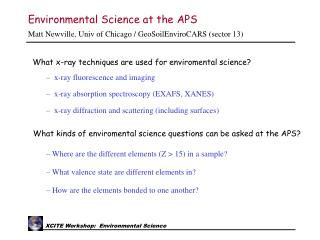 Environmental Science at the APS