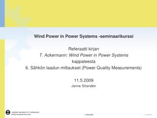 Wind Power in Power Systems -seminaarikurssi Referaatti kirjan