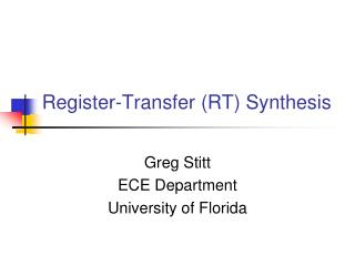 Register-Transfer (RT) Synthesis