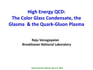High Energy QCD:  The Color Glass Condensate, the  Glasma   & the Quark-Gluon Plasma