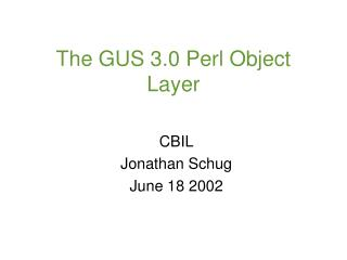 The GUS 3.0 Perl Object Layer