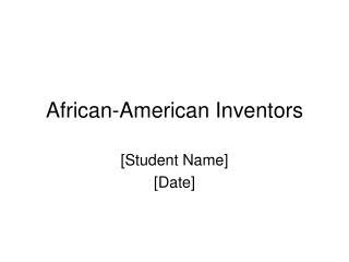 African-American Inventors