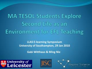 MA TESOL Students Explore Second Life as an Environment for EFL Teaching
