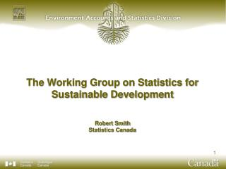 The Working Group on Statistics for Sustainable Development Robert Smith Statistics Canada