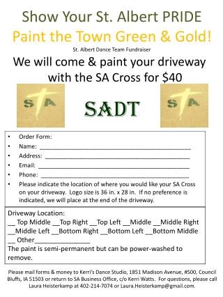 Show Your St. Albert PRIDE Paint the Town Green & Gold! St. Albert Dance Team Fundraiser