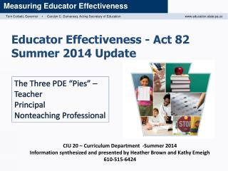 Educator Effectiveness - Act 82 Summer 2014 Update