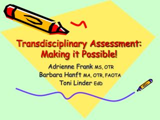 Transdisciplinary Assessment: Making it Possible!