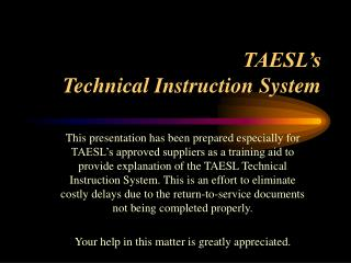 TAESL's  Technical Instruction System