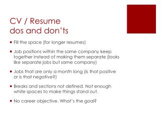 CV / Resume dos and don'ts
