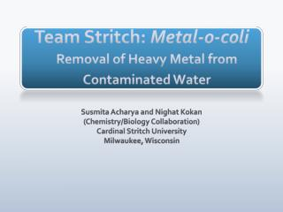 Team Stritch:  Metal-o-coli Removal of Heavy Metal from Contaminated Water