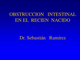 OBSTRUCCION   INTESTINAL                            EN EL  RECIEN  NACIDO   Dr. Sebasti n   Ram rez