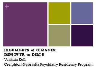 HIGHLIGHTS  of  CHANGES:  DSM-IV-TR  to   DSM - 5 Venkata  Kolli