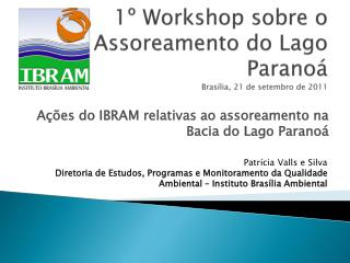 1  Workshop sobre o Assoreamento do Lago Parano  Bras lia, 21 de setembro de 2011