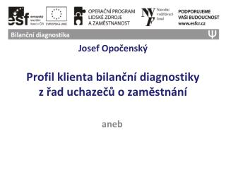 Josef Opočenský Profil klienta bilanční diagnostiky zřad uchazečů o zaměstnání