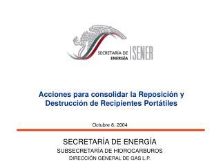 Acciones para consolidar la Reposición y Destrucción de Recipientes Portátiles