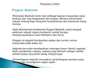 Tasawwur  Islam Piagam Madinah