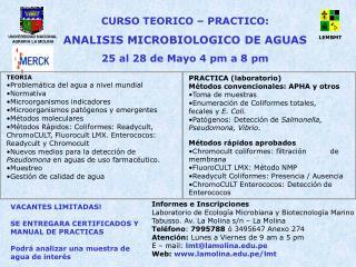 Informes e Inscripciones   Laboratorio de Ecolog a Microbiana y Biotecnolog a Marino Tabusso. Av. La Molina s