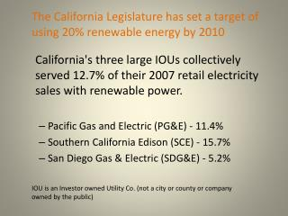 IOU is an Investor owned Utility Co. (not a city or county or company owned by the public)