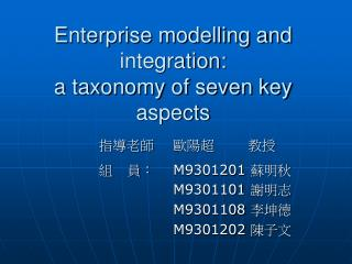 Enterprise modelling and integration: a taxonomy of seven key aspects