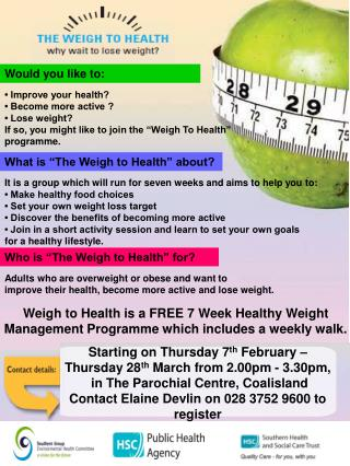 Weigh to Health is a 7 Week  healthy Weight