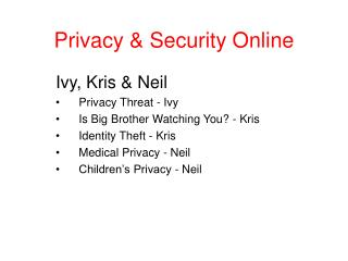Privacy & Security Online