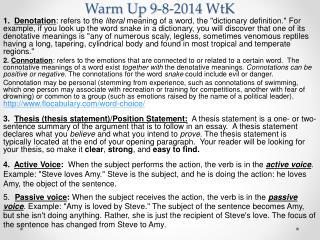 Warm Up 9-8-2014  WtK