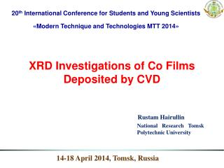 XRD Investigations of Co Films Deposited by CVD