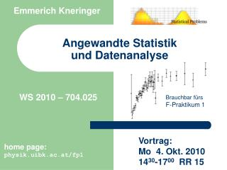 Angewandte  Statisti k und Datenanalyse