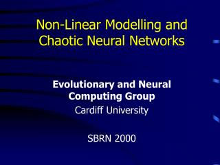 Non-Linear Modelling and Chaotic Neural Networks