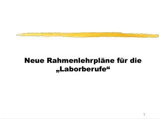 """Neue Rahmenlehrpläne für die """"Laborberufe"""""""