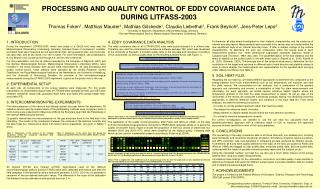 PROCESSING AND QUALITY CONTROL OF EDDY COVARIANCE DATA  DURING LITFASS-2003
