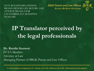 IP Translator perceived by the legal professionals