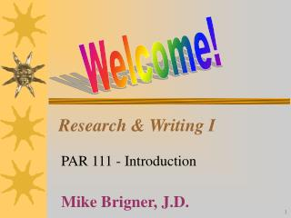 Research & Writing I