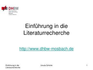 Einführung in die Literaturrecherche