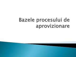 Bazele procesului de aprovizionare