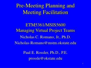 Pre-Meeting Planning and Meeting Facilitation ETM5361/MSIS5600 Managing Virtual Project Teams