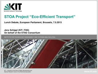 "STOA Project ""Eco-Efficient Transport""   Lunch Debate, European Parliament, Brussels, 7.5.2013"