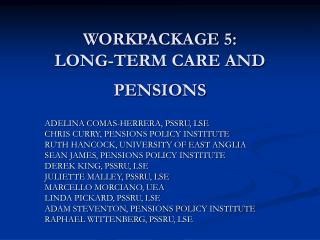 WORKPACKAGE 5:  LONG-TERM CARE AND PENSIONS